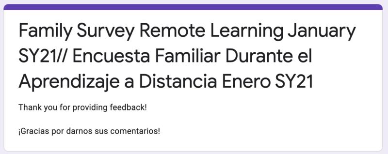 Family Survey - Remote Learning / Encuesta para Families - Aprendizaje a Distancia Featured Photo