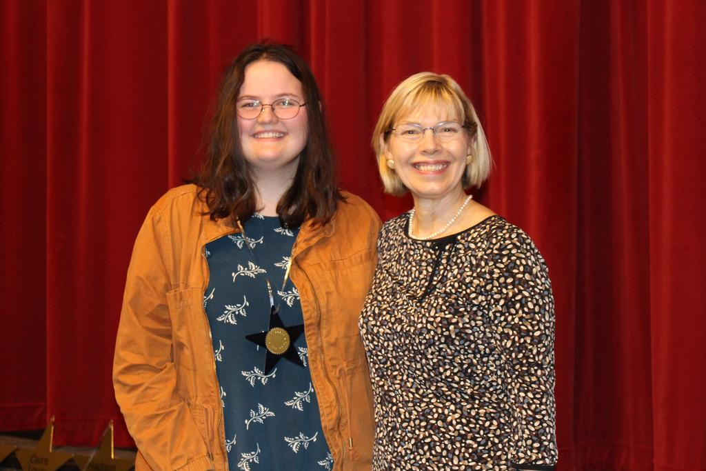 The National Society of the Daughters of the American Revolution, Good Citizens Award Madison Mc Larry received $100, a certificate and a medal from Carey Soderstrom, WHS Instructional Strategist, Jacob's Well Chapter, NDAR