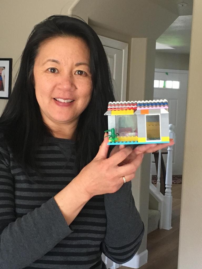 woman holding lego house