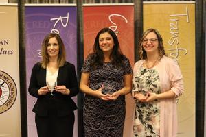 photo of three of the four 2019 OLSH Distinguished Alumni Award winners