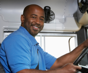bus driver smiling