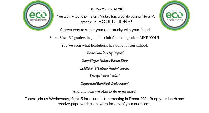 Ecolutions Letter