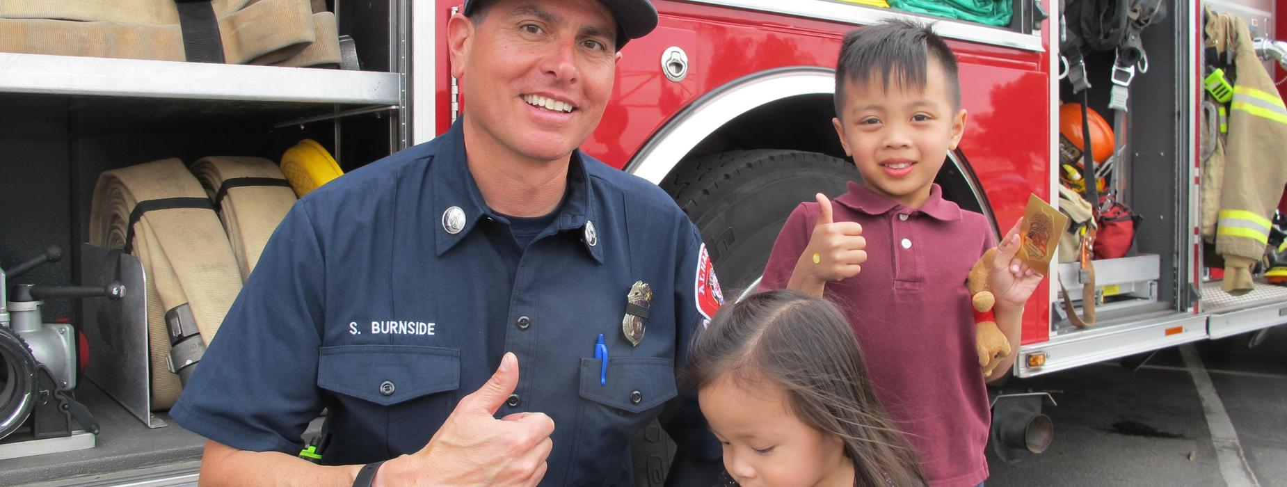 Marguerita students and Alhambra Firefighter