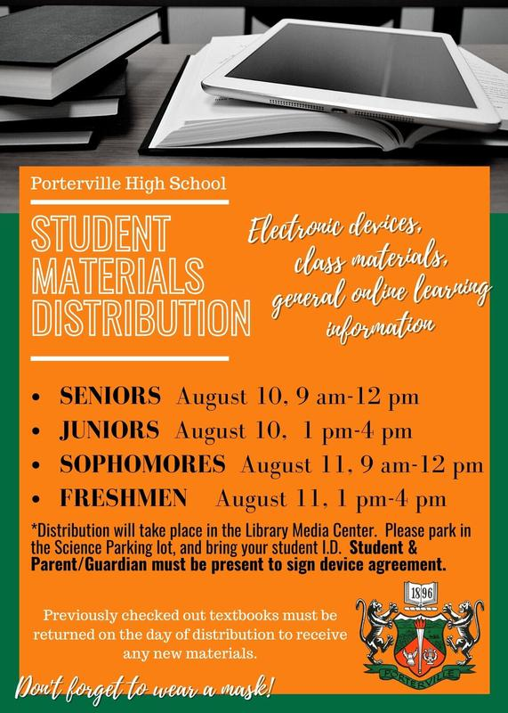 Fall 2020 Student Materials Distribution Schedule