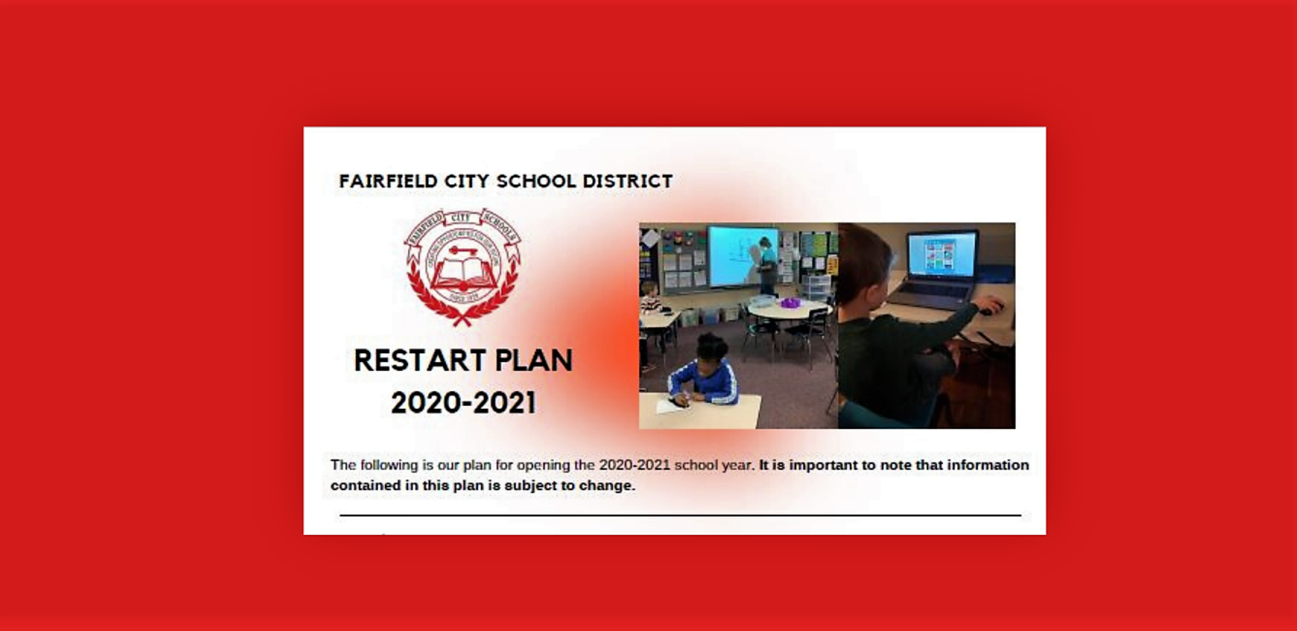 This is an image of the title page for the 20-21 school year restart information