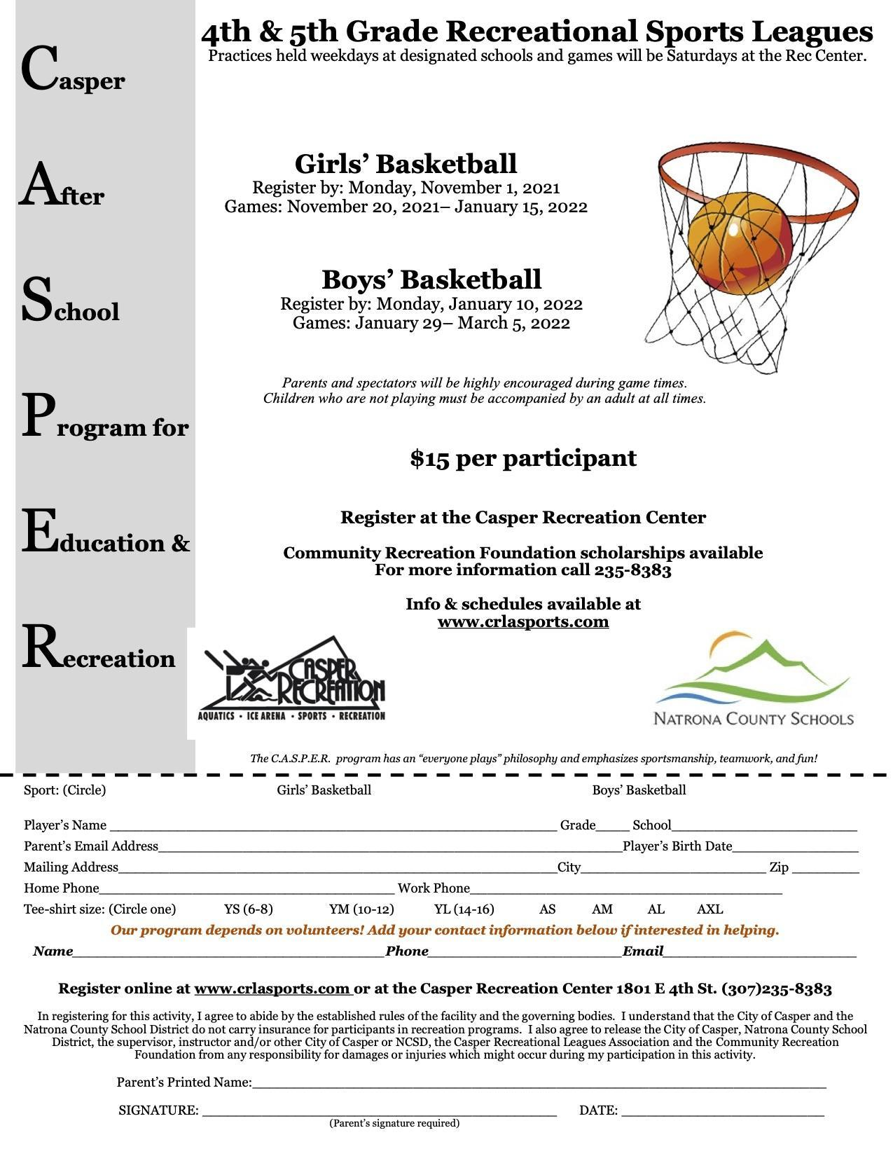 4th & 5th Grade Basketball flyer