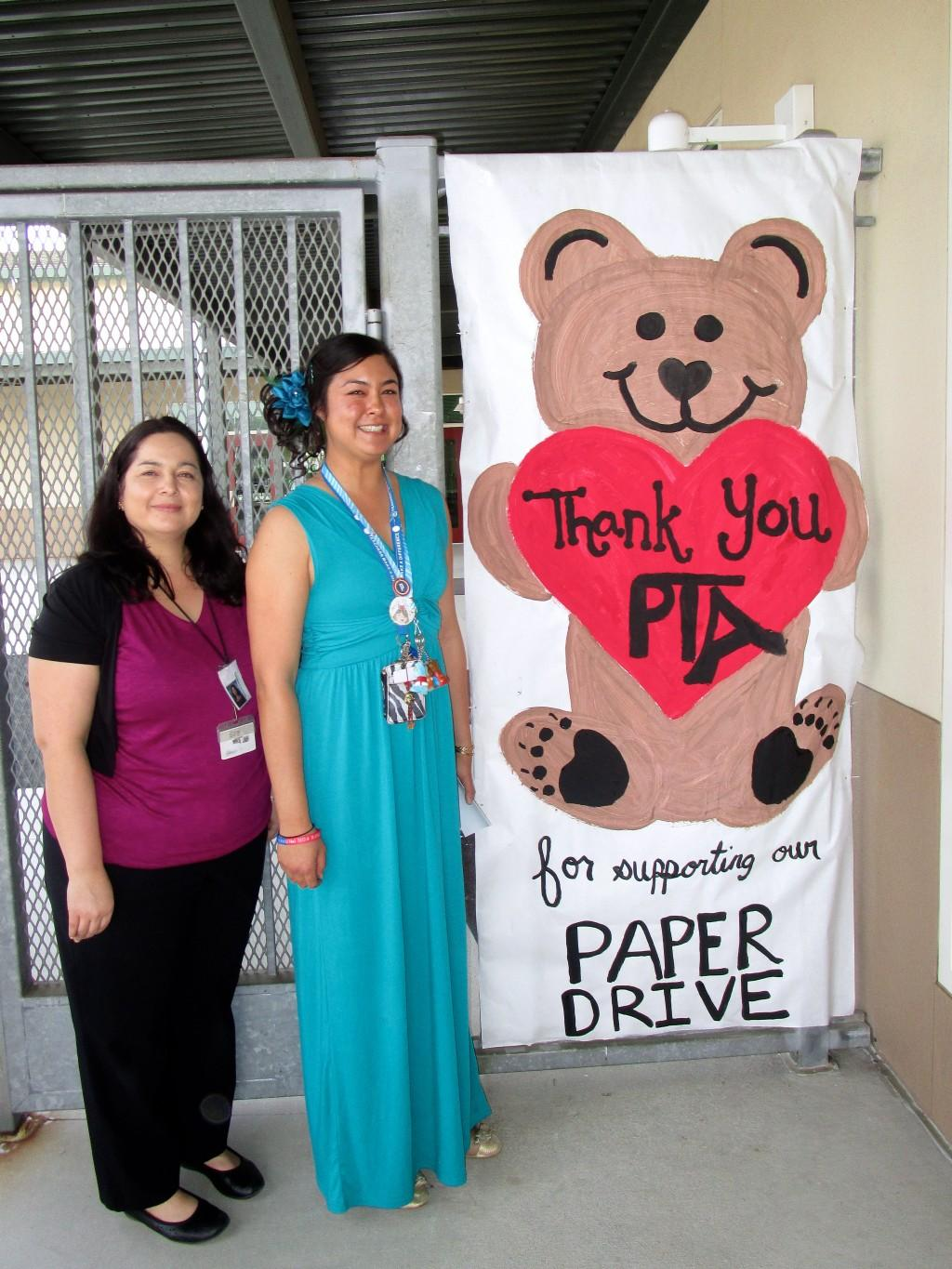 Teachers promoting the Bonsall PTA paper drive