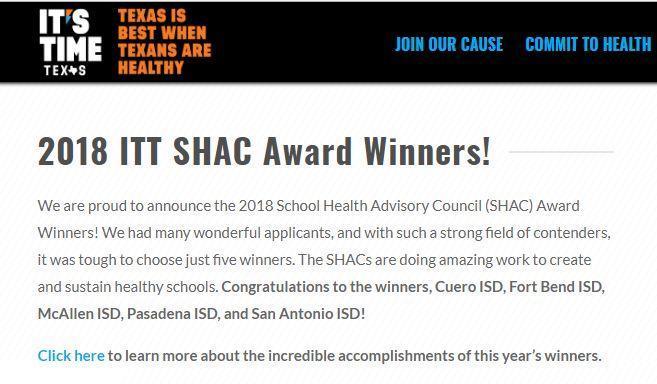 McAllen ISD State SHAC Winner!