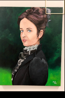 sketched color portrait of a women during the late 1800's