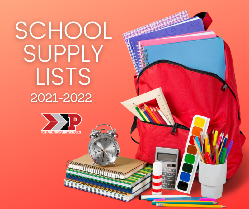School supply list graphic with backpack and supplies