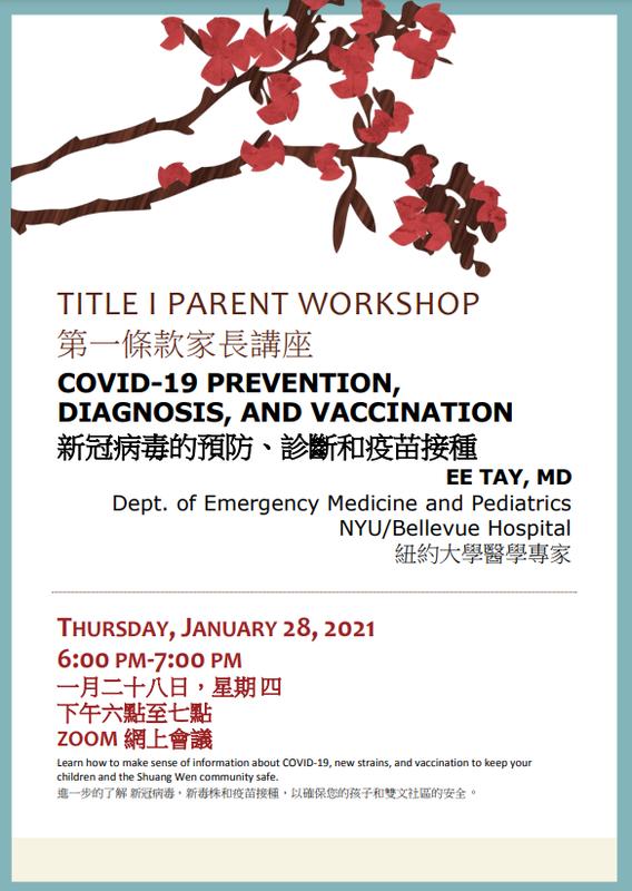TITLE I PARENT WORKSHOP Poster- 1/28/2021