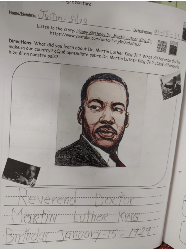 Martin Luther King drawing in workbook