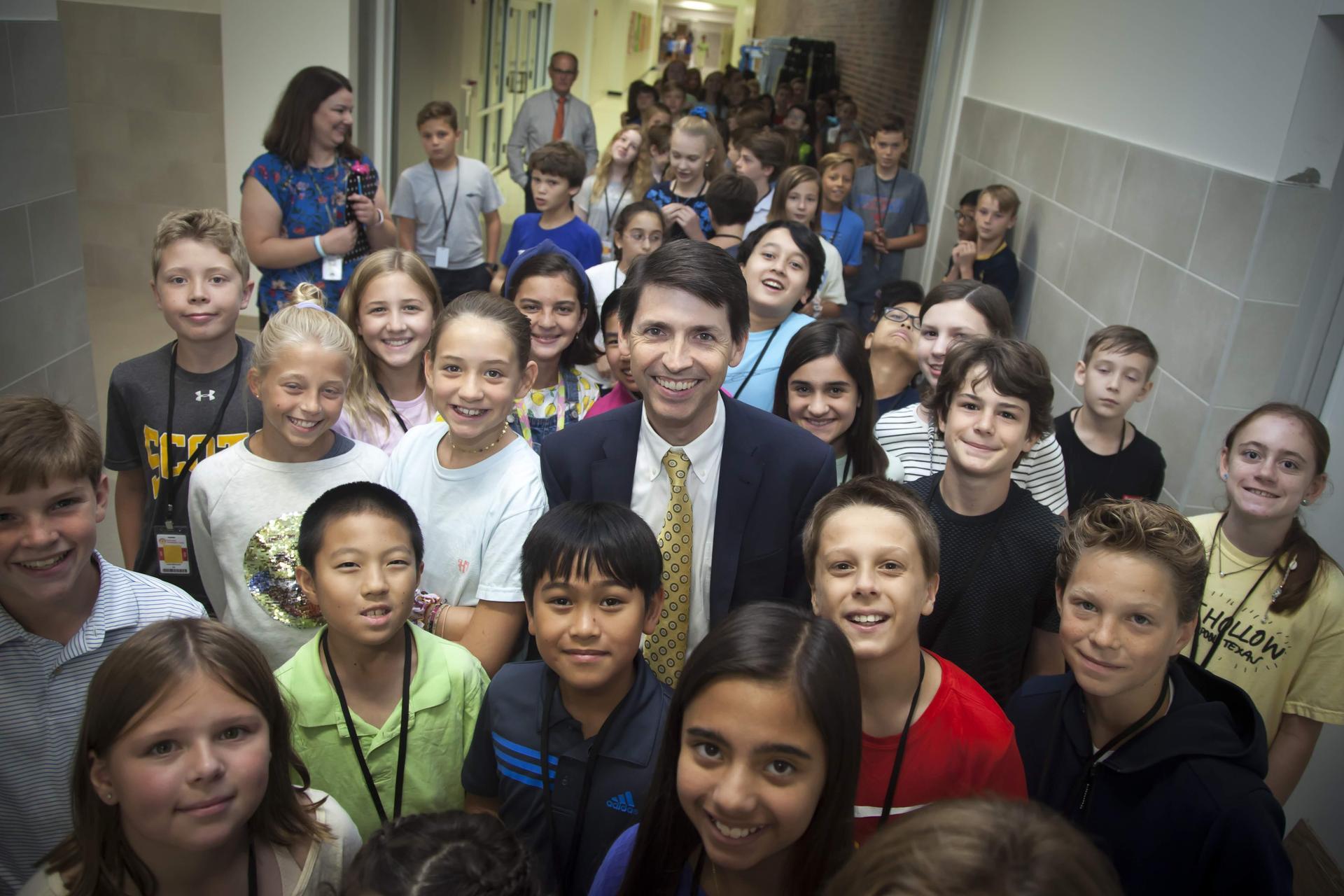 Principal Moran with students