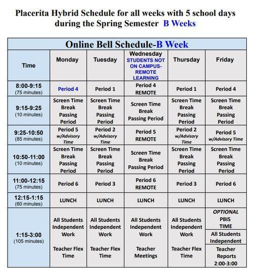 Blended Learning Schedule 'B' week