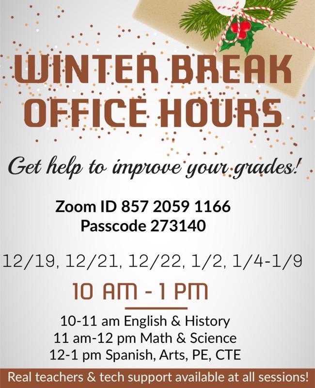 Winter Break Office hours Featured Photo