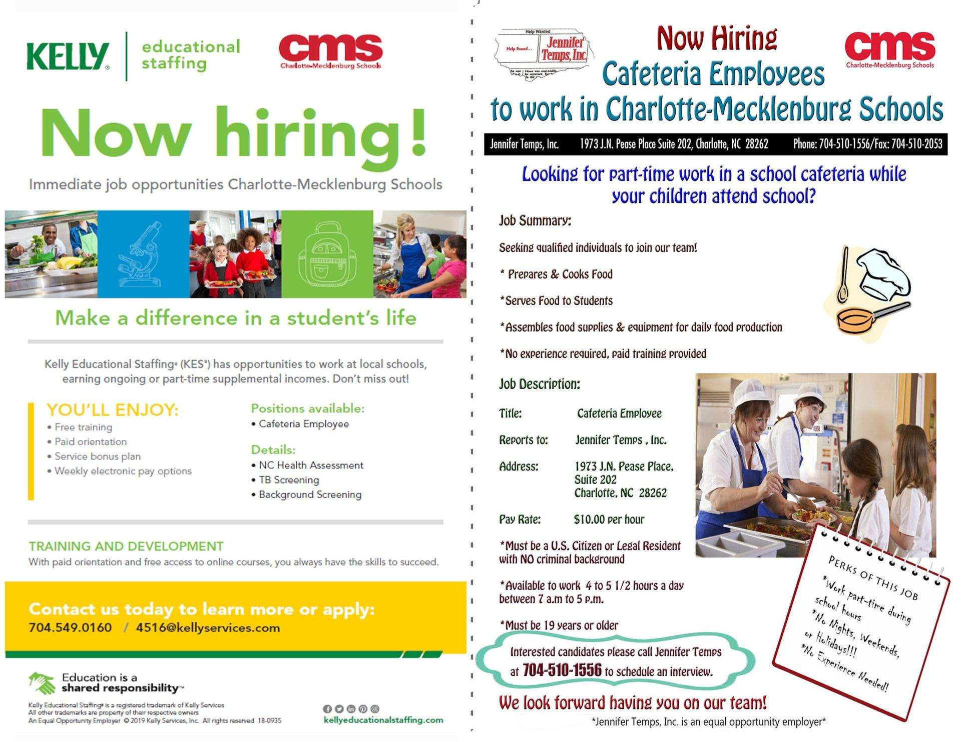 Cafeteria Employees Needed Flyer