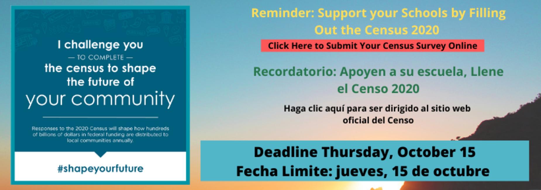 Census Banner Bilingual with October 15 Deadline