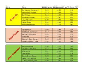 summer school bus stop schedule