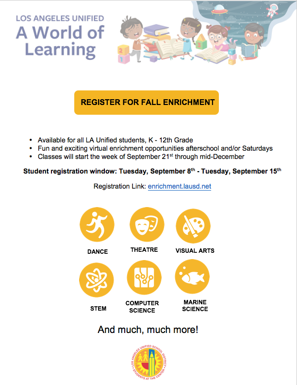 Fall LAUSD Enrichment Programs