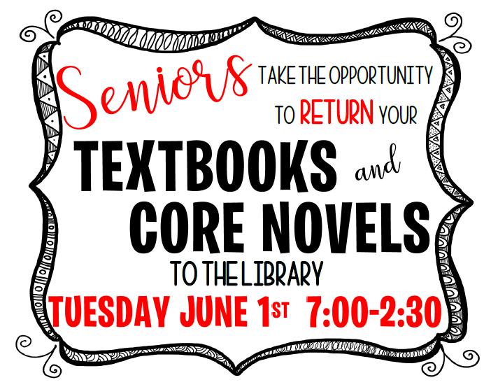 Textbook return information for seniors Thumbnail Image