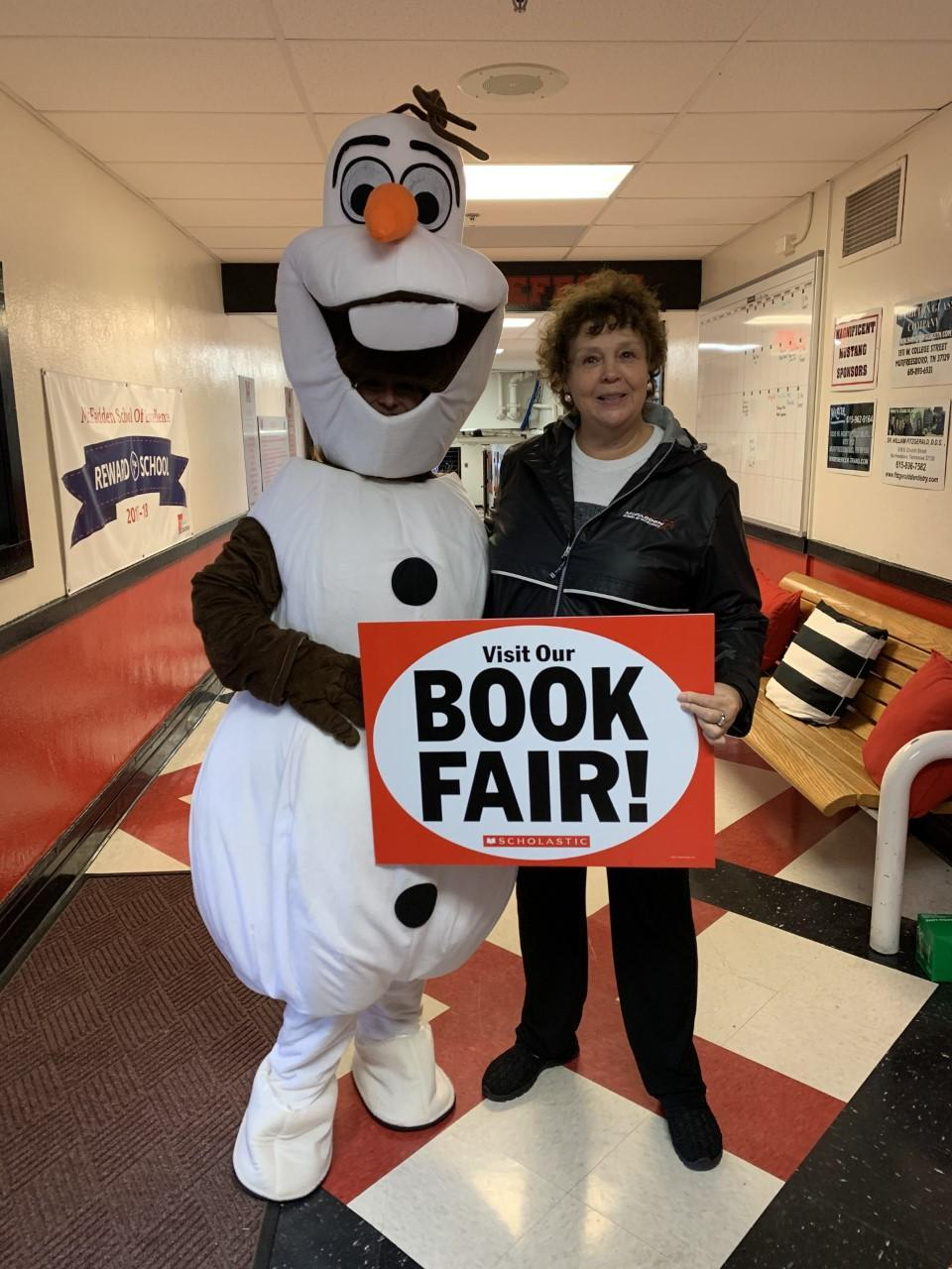 Mrs. Butrum and Olaf promote the book fair!