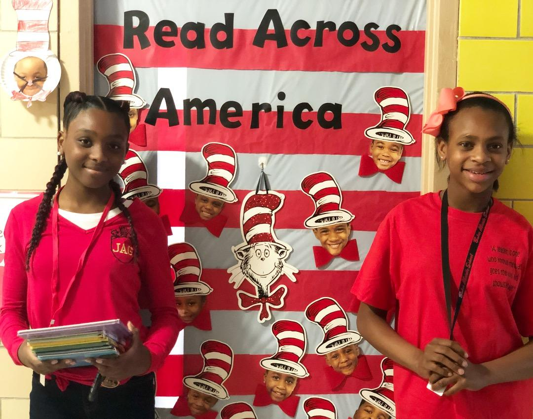 Photo highlights from the Baker Middle School JAGs reading on Seuss Day to students at Bakerfield