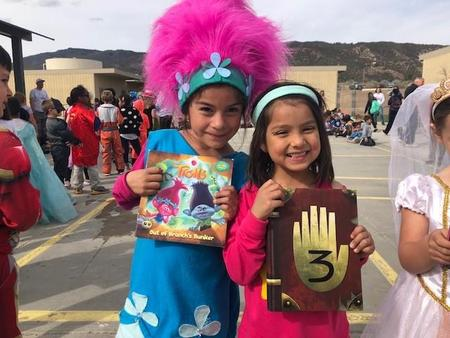 Girls showing off their Reading Week Costumes