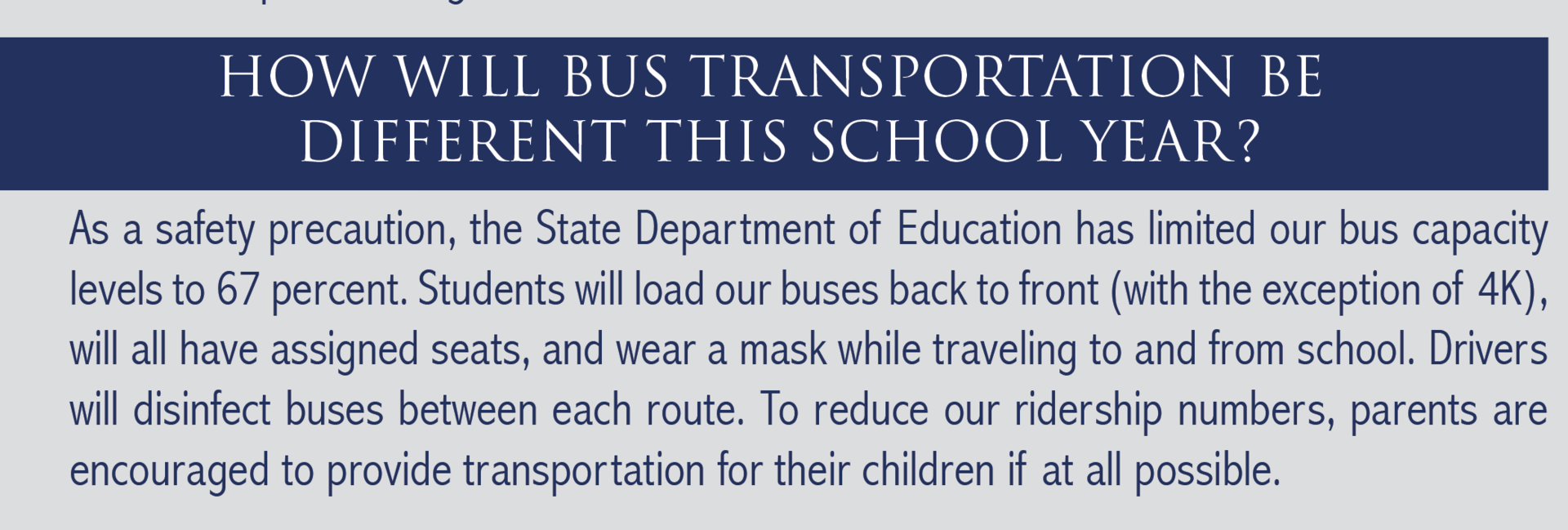 Buses will be disinfected