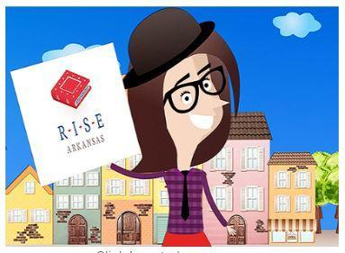 female cartoon character holding the RISE logo