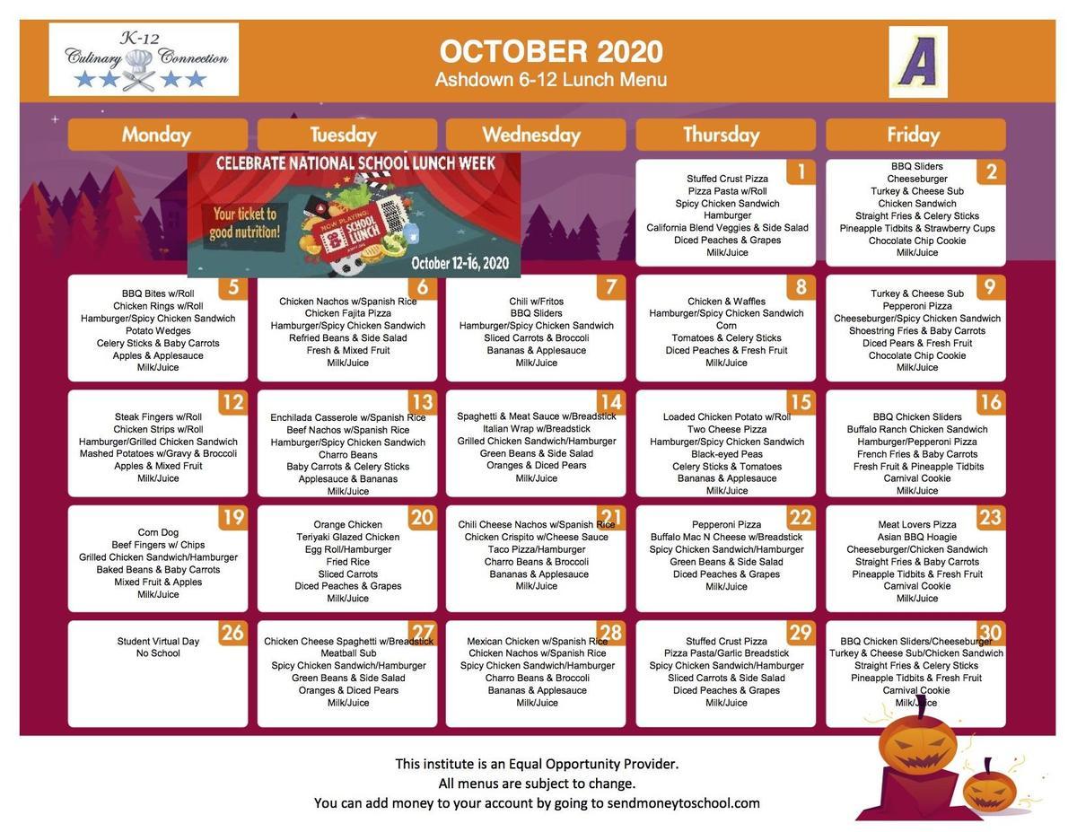Grades 6-12 October Lunch Menu