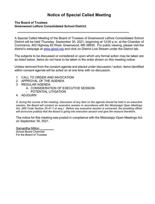Notice of Special Called Board Meeting -September 30, 2021 Featured Photo