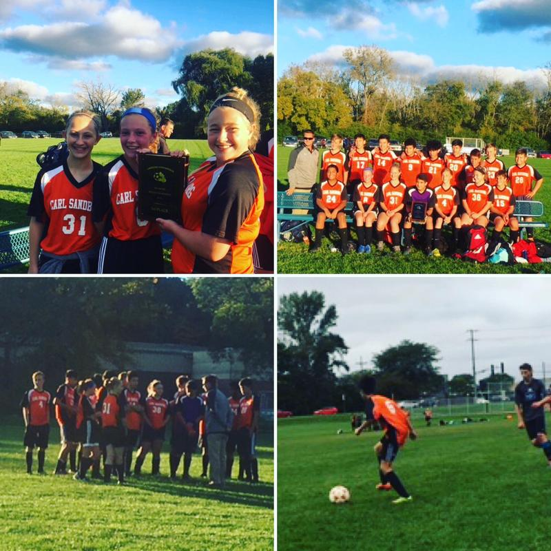 4 pictures of students holding the conference plaque and playing soccer.