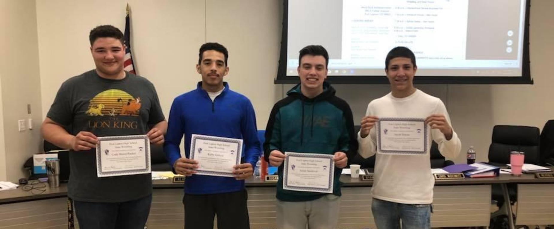 Fort Lupton Wrestlers Honored by the Board of Education