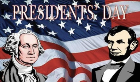 President Washington and president Lincoln in front of a flag