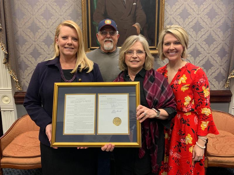 Pictured from left to right are Stacey Derrick (Lexington Three Board of Trustees Chair), Bob Caughman, Senator Katrina Shealy, and Mackenzie Taylor (Lexington Three Director of Public Information).  Mr. Caughman is part of the Alumni Committee that is orchestrating the placement of an historical marker at the site of the old Batesburg-Leesville High School on West Columbia Avenue.  An unveiling and dedication ceremony for the marker is planned for April 11th at 10 am.
