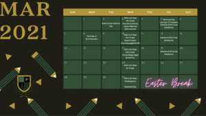calendar displaying school logo and month of March dates