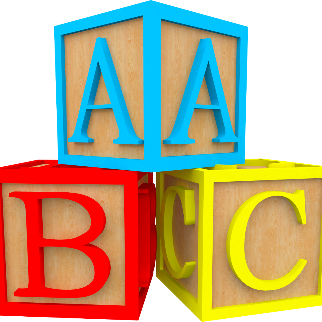3 wooden blocks with the letters A, B & C