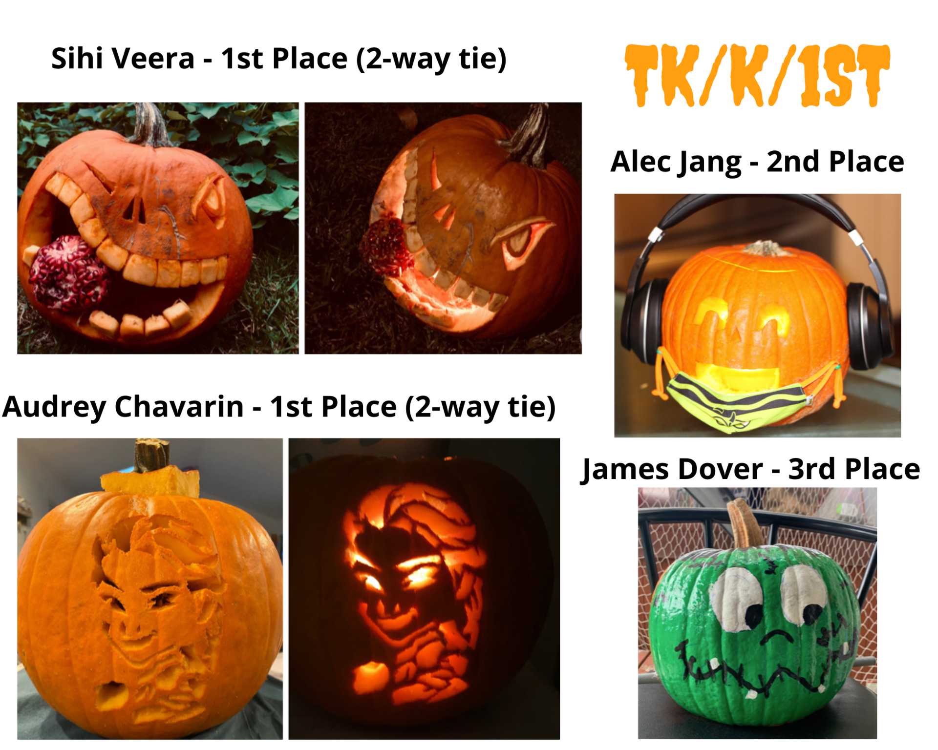 Pumpkin Carving Winners TK K 1st