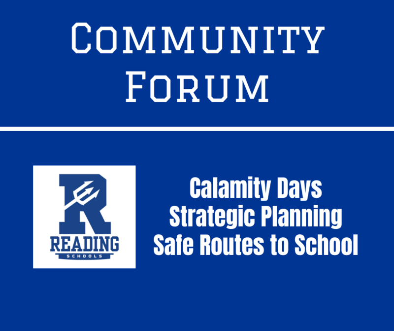 Community Forum graphic about calamity days, strategic planning and safe routes to school