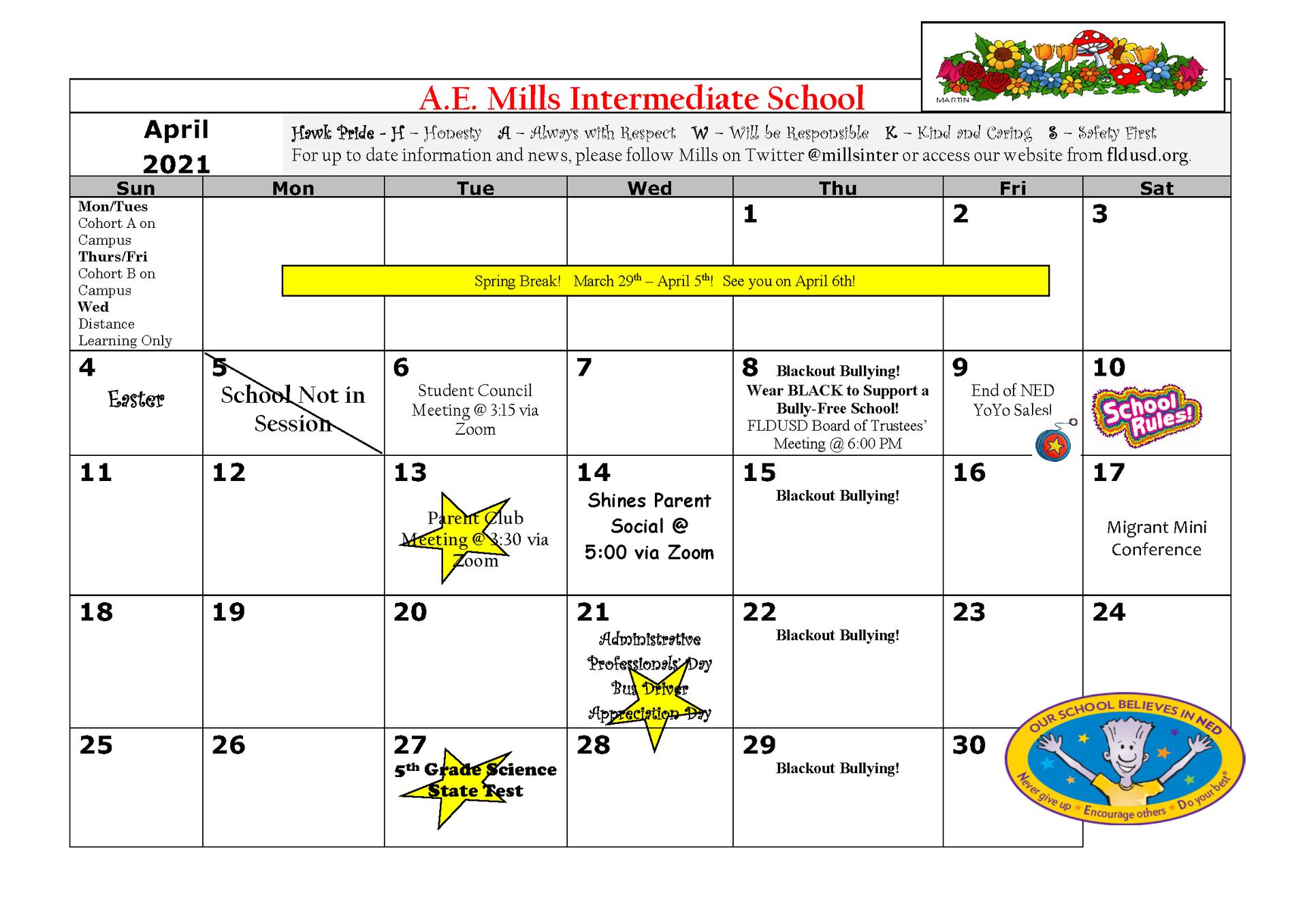 April Calendar English