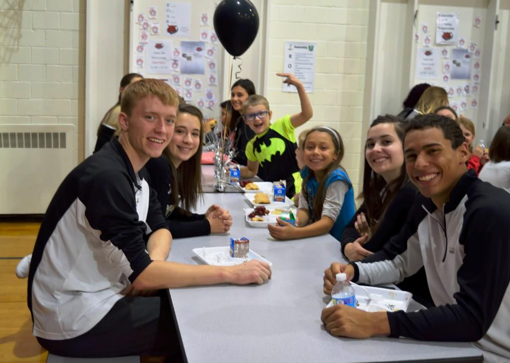 CCHS students eating lunch with McKinley students