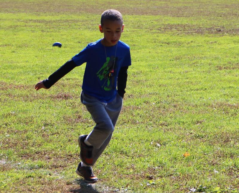 Tamaques 2nd grader runs during the Mileage Club at recess.