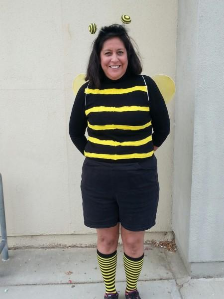 Mrs. April Beeing safe in her Bee Costume