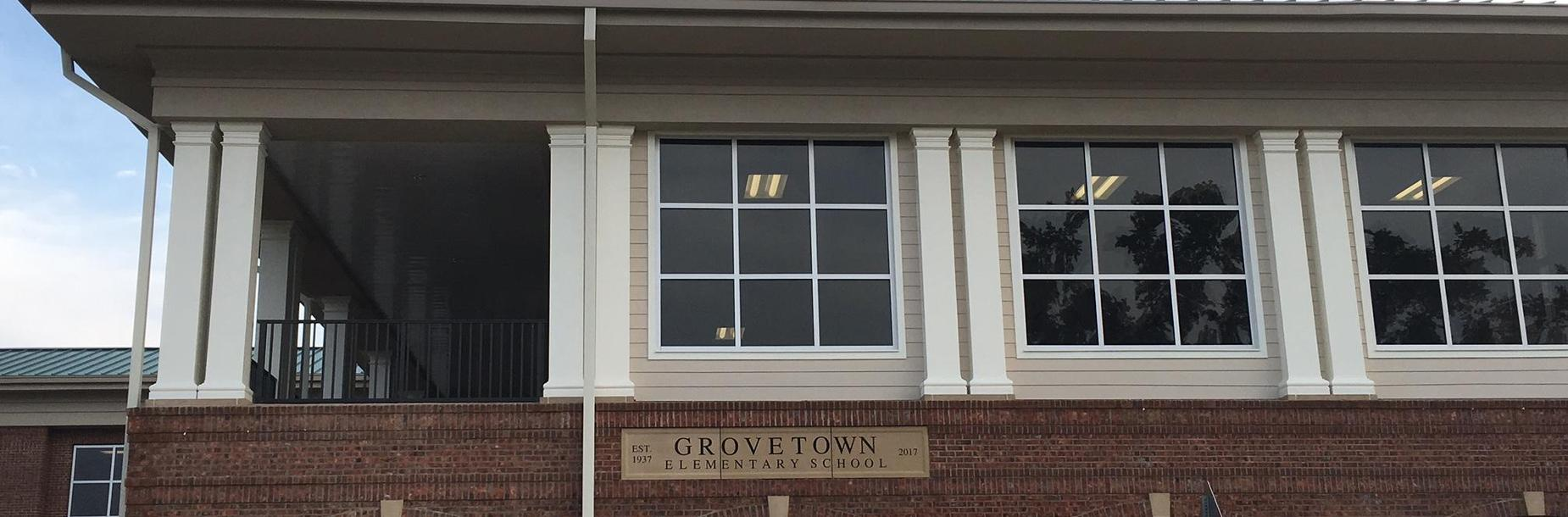Photography of the upper exterior of Grovetown Elementary School