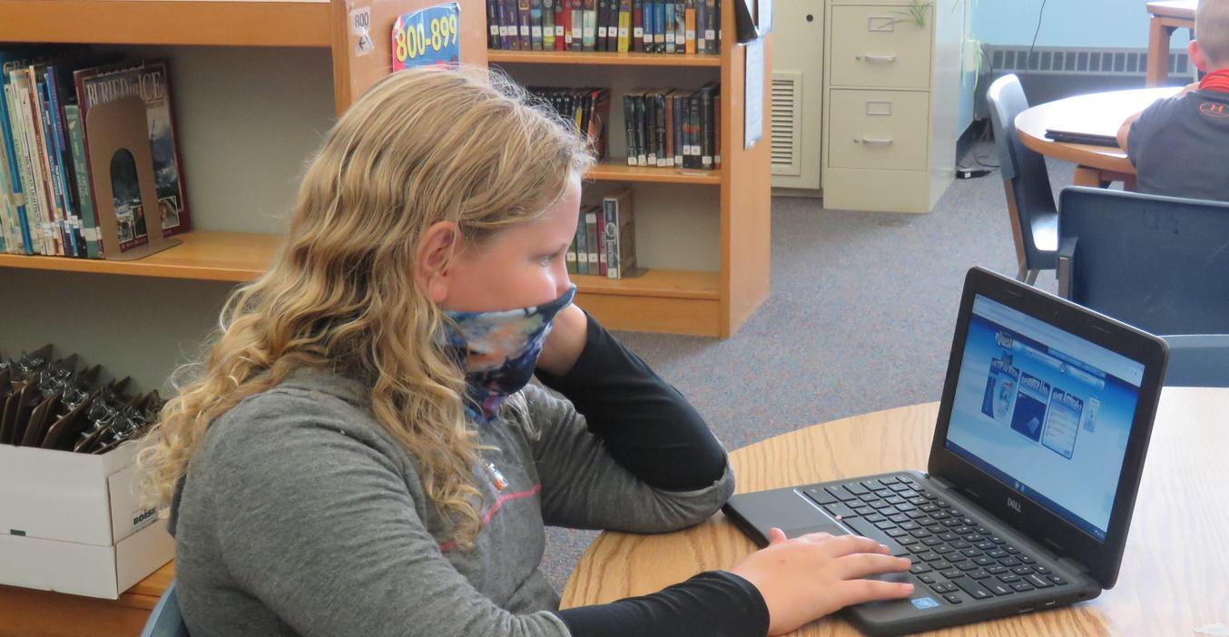 Students use the electronic card catalog to find books in the library.