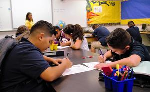 BPUSD_Back_School _2: Olive Middle School students write about their summer for their first writing assessments of the 2018-19 school year on Aug. 16. Baldwin Park Unified welcomed back more than 13,000 students for the new year with increased science, technology, engineering, arts and math (STEAM) opportunities.