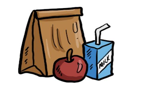 cartoon of lunch bag, milk carton, apple