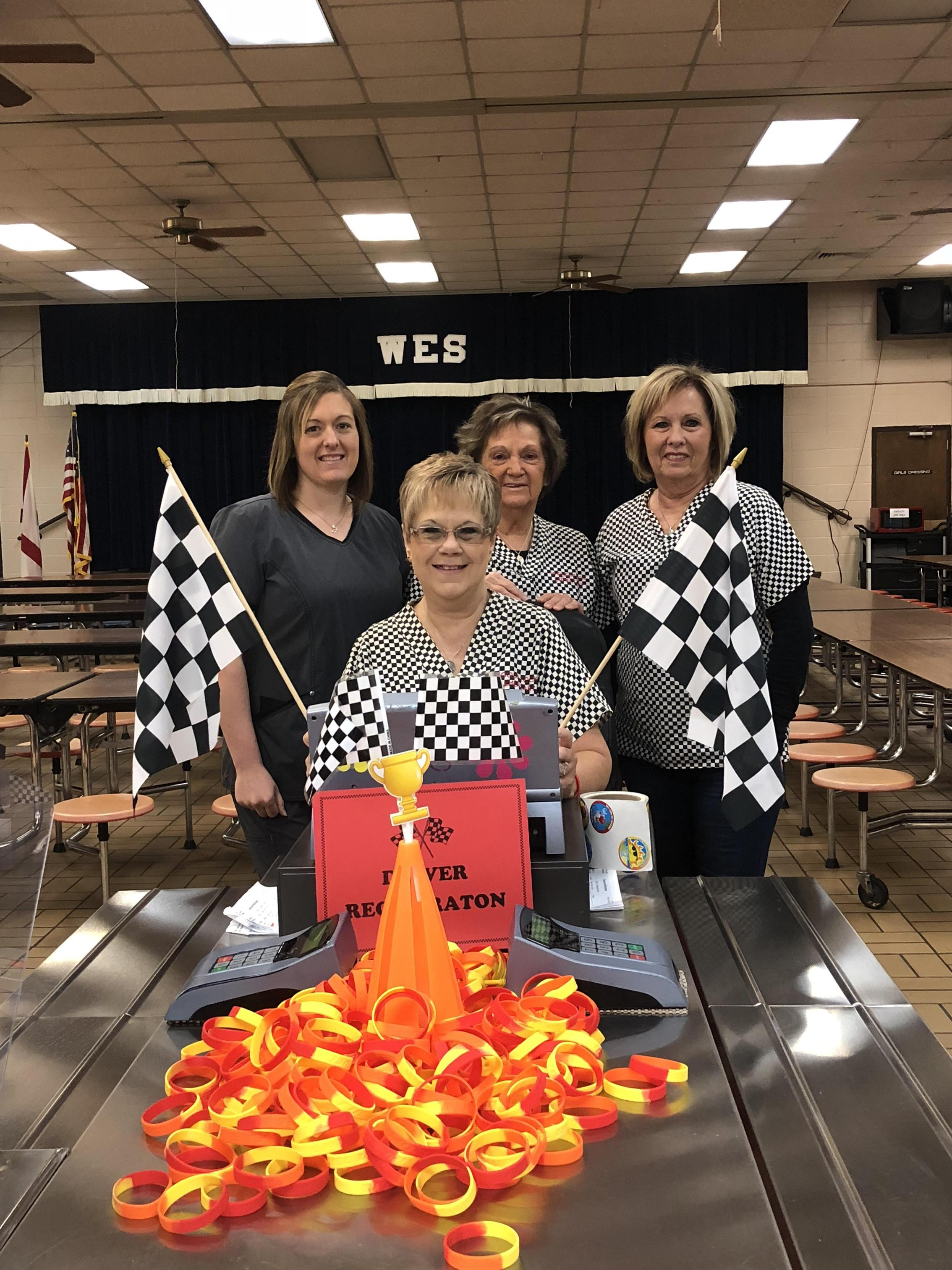 Woodstock lunchroom with their Racing theme for 2019-2020