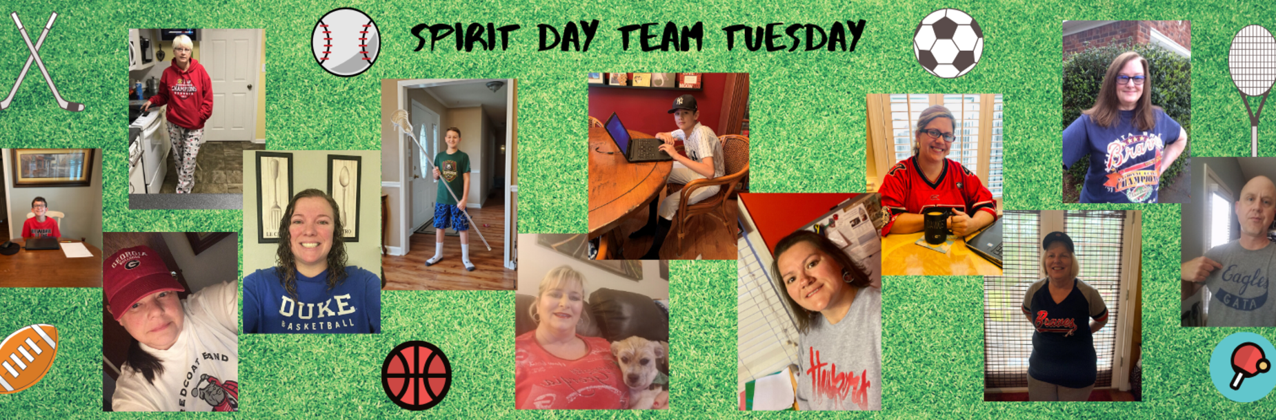 Teachers and students dressed in sports spirit day attire