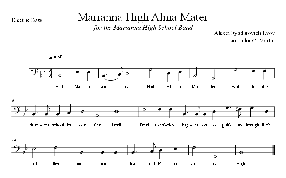 Sheet Music for Alma Mater for the Electric Bass